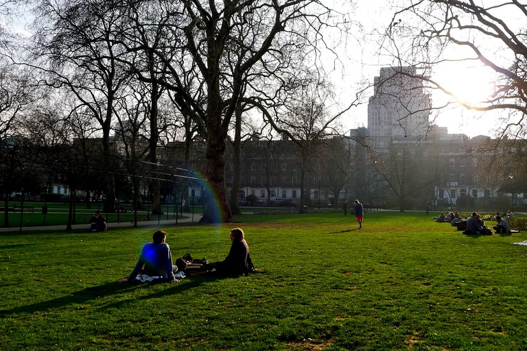 People enjoying Russell Square
