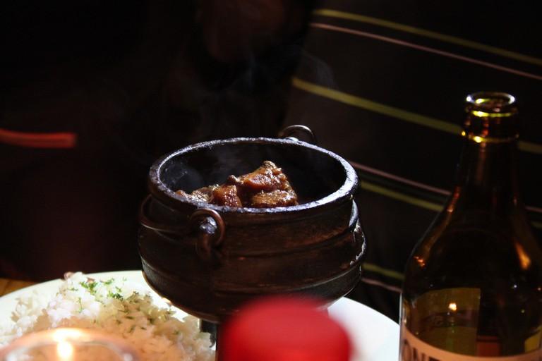 Kudu and Springbok meat stewed in a potjie