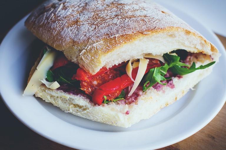 Sandwich with crusty bread