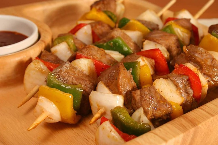 Meat skewers are a house specialty