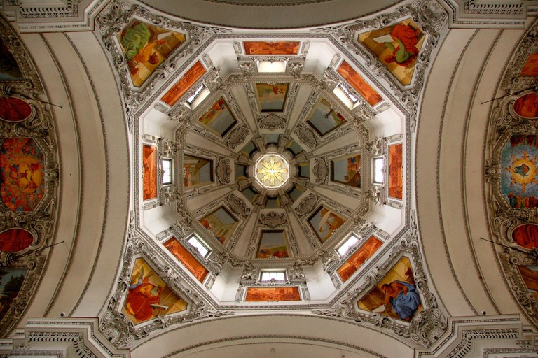 Decorative ceiling of Salzburg Cathedral