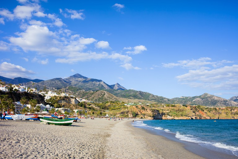 Burriana beach at the Mediterranean Sea in Nerja, Spain