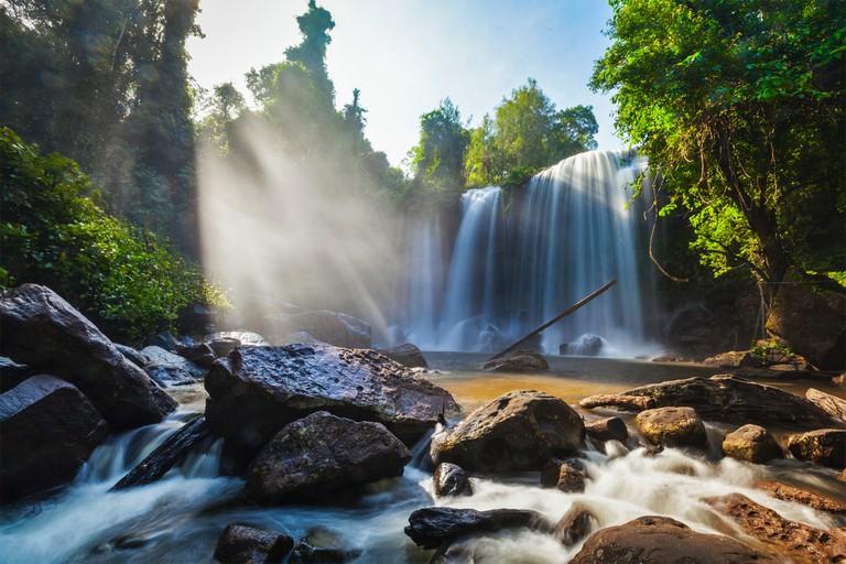 Tropical waterfall Phnom Kulen