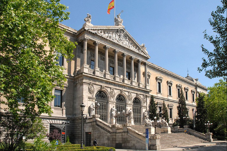 The facade of Madrid's Biblioteca Nacional