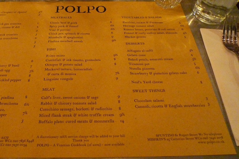 Polpo menu