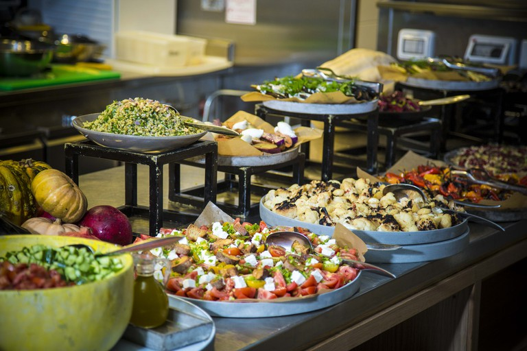 The brunch buffet at Tel Aviv's Mashya