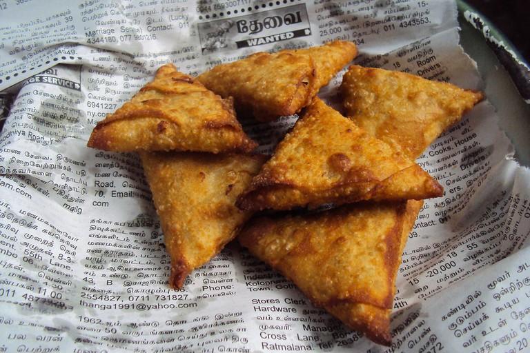 Try the punjabi samosas at Surat Vegetarian Delights