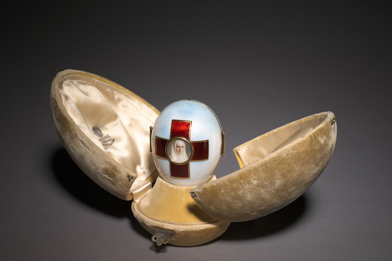 Imperial Red Cross Easter Egg, 1915. Firm of Peter Carl Fabergé (Russian, 1846-1920), Henrik Wigström (Russian, 1862-1923). Gold, silver, enamel, glass.