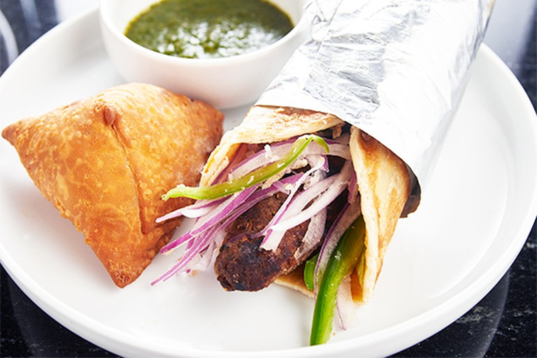 The halal beef kebab at Bombay Wraps