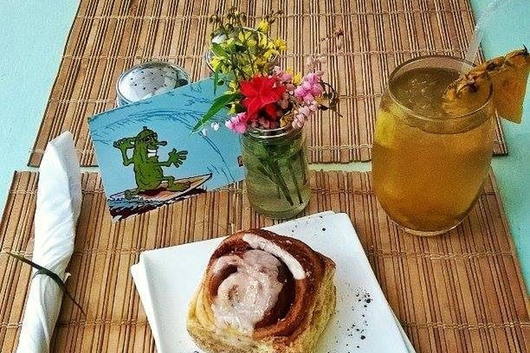 Post-surf ginger green tea and a homebaked pastry