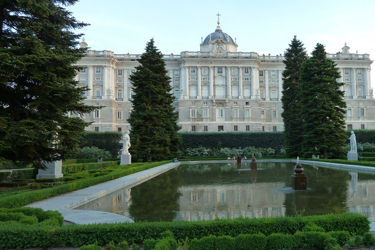 The Sabatini gardens and a view of the Royal Palace