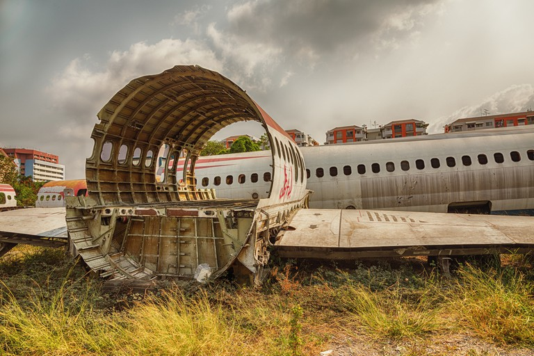 Airplane salvage graveyard in Bangkok
