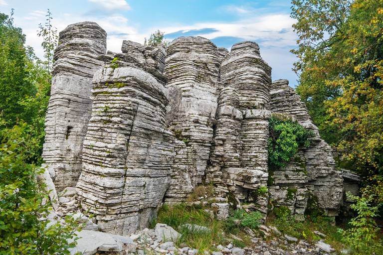 Natural rocks near Monodendri village known as Stone Forest. Zagoria, Epirus, Greece
