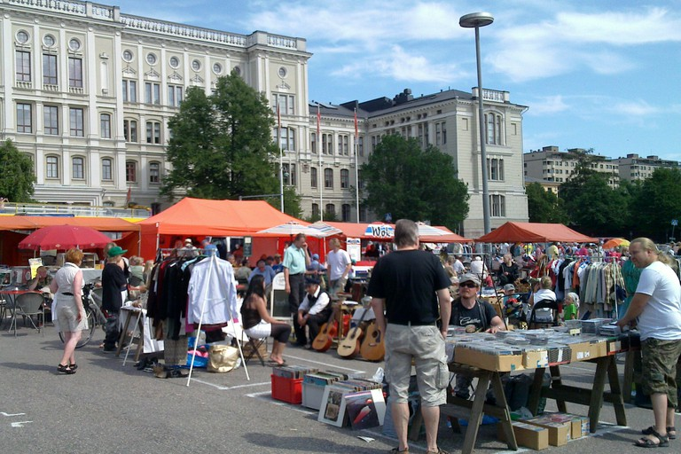 Range of stands at the Hietalahti Flea Market