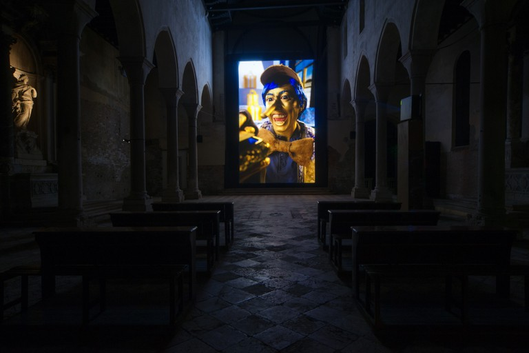 Rachel Maclean, Installation view of Spite Your Face, 2017