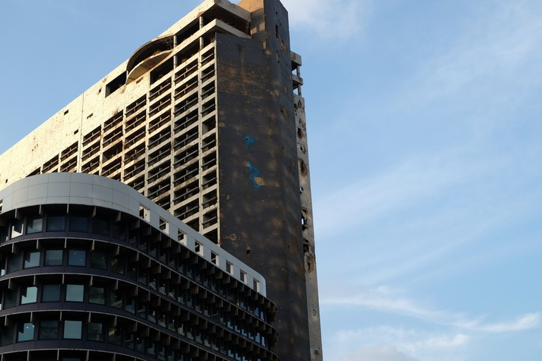 Holiday Inn Beirut, destroyed by the Civil War and one of the remnants of Beirut's 1960's boom