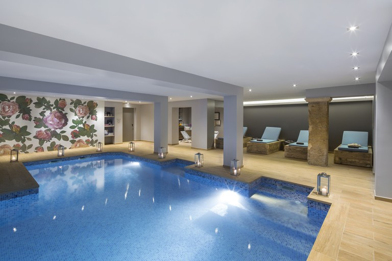 The pool has a lovely cosy atmosphere because it's all underground