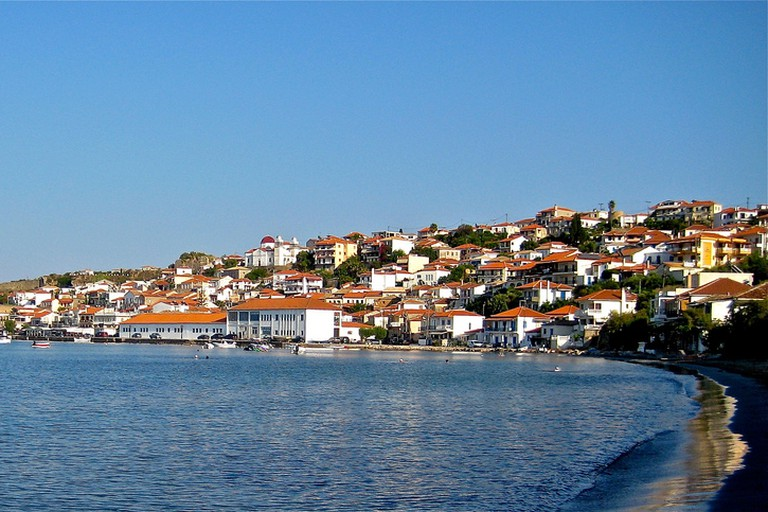 Panoramic iew over the north side of Koroni, with the castle on the left