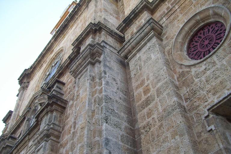 The imposing stone facade of San Pedro Claver church