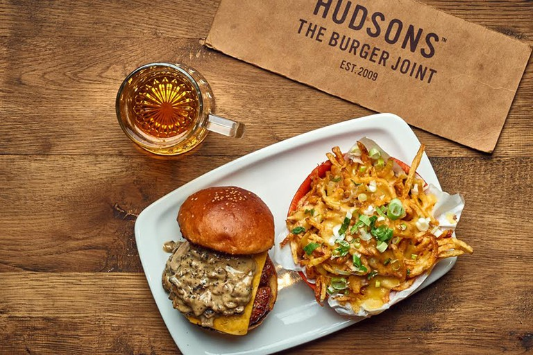 Hudsons burger and fries