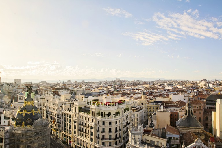The skyline of Madrid from the rooftop of the Circulo de Bellas Artes