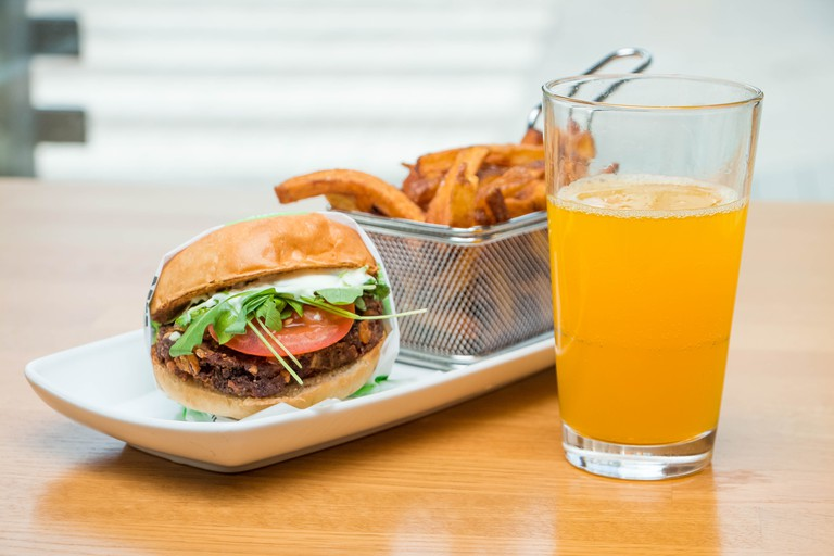 Vegan burger and fresh cut fries.