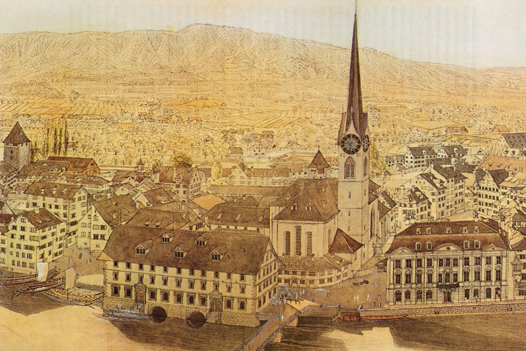 A historic image of Fraumünster church