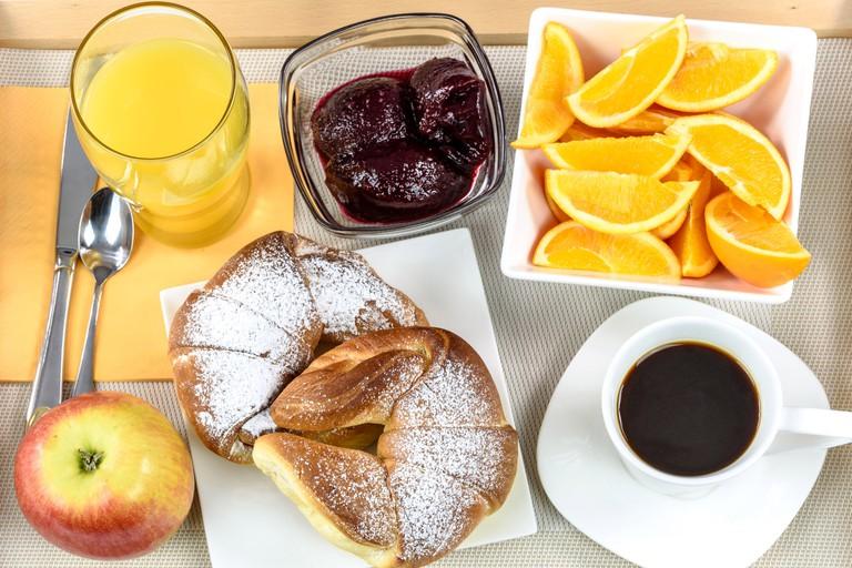 Hotel breakfast tray