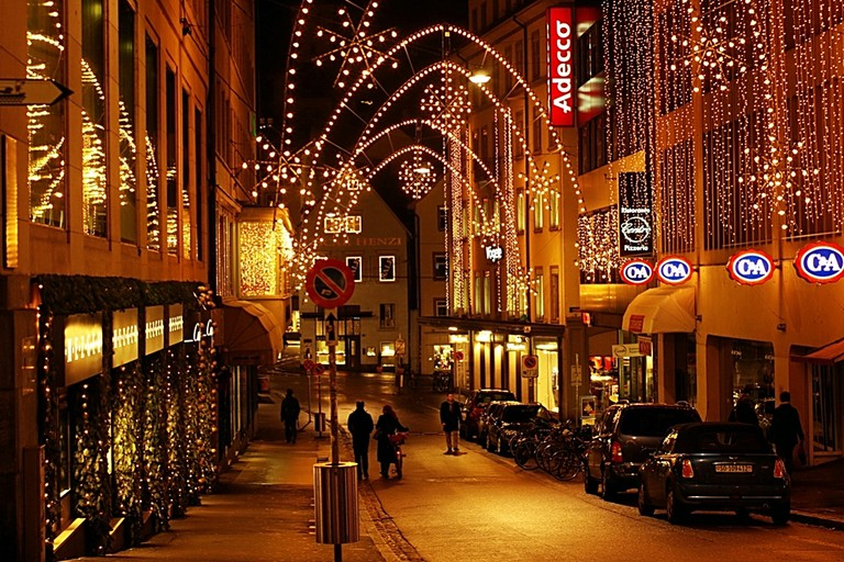 Streets of Basel lit up for Christmas