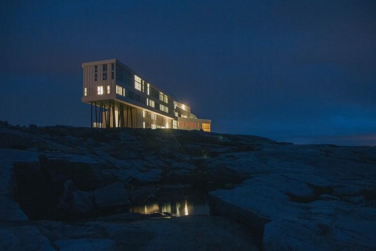 Fogo Island Inn at night