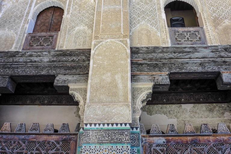 Decorative details inside the Medersa Bou Inania