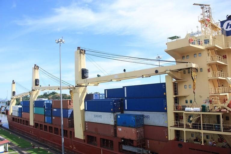 Ship transiting the Panama Canal at Miraflores Locks, Panama City