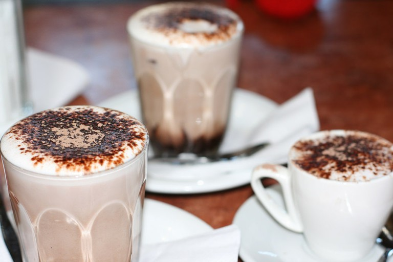 Glasses of hot chocolate