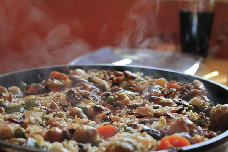 A plate of rich paella