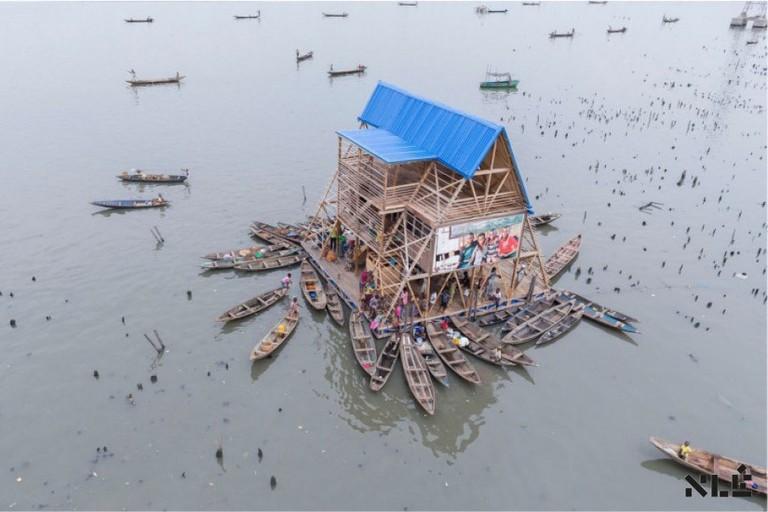 Arial view of the Makoko Floating School