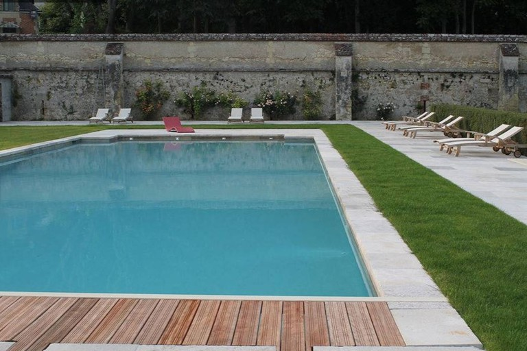 The relaxing pool at Relais du Silence Château de Perreux