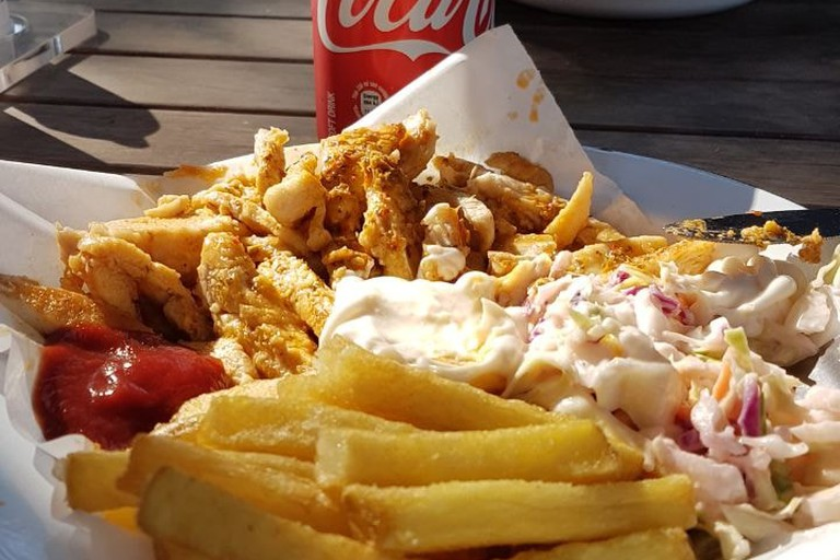 Chicken strips and chips at Afros