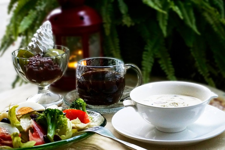 Fresh salad and soup with Japanese dessert and coffee