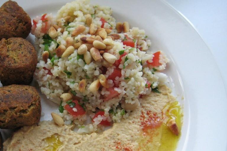 A falafel mixed plate