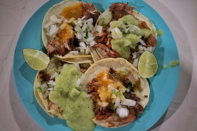 Tacos al pastor at Antojitos La Chiapaneca