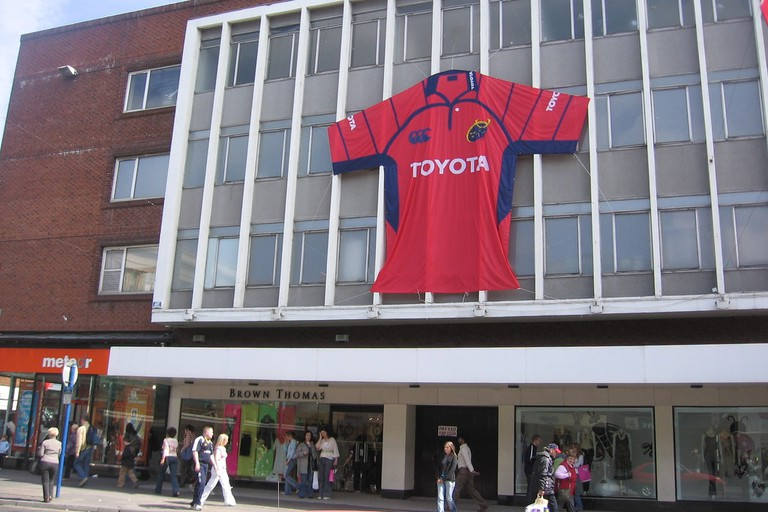 Brown Thomas, Limerick displays the colours of local rugby club Munster