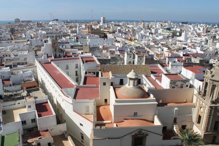 Enjoy views over Cádiz from the rooftop terrace at Alquimia Hostel