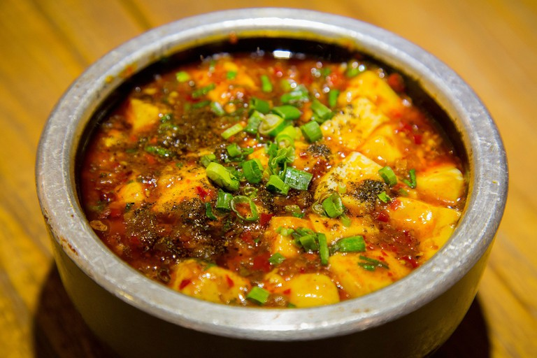 Mapo tofu is a typical dish containing Szechuan pepper