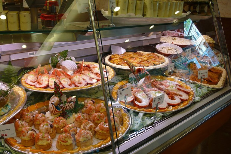 A seafood counter at Peck, Milan