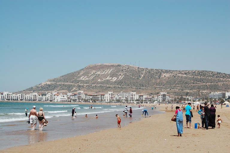Agadir beach and mountain