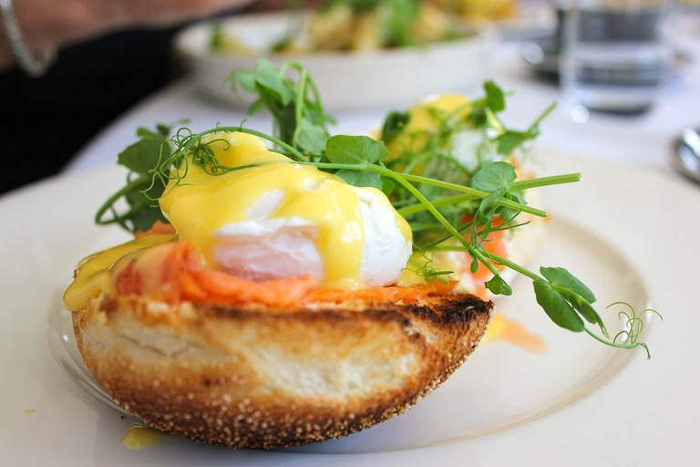 Enjoy eggs benedict at the Village