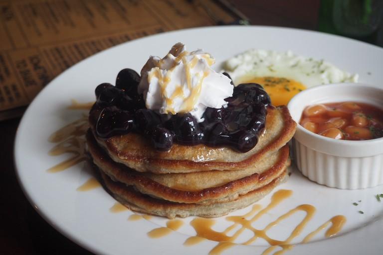 Pancakes breakfast plate