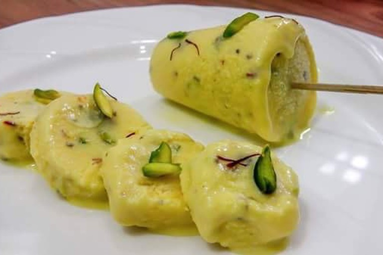 The kulfi is an Indian dessert item popular with traditional flavors such as paan and Kesar Pista