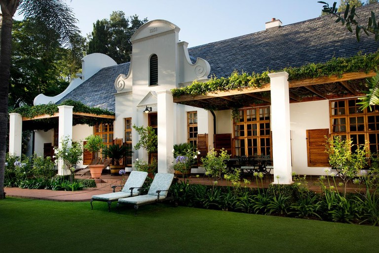 The entrance to the Cape Dutch style boutique hotel