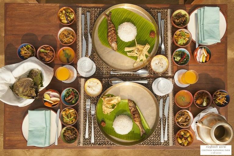 Nepali cuisine served at the Meghauli Serai Chitwan